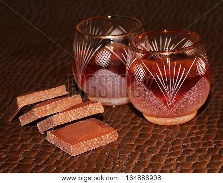 Liquor or brandy on table romantic dinner