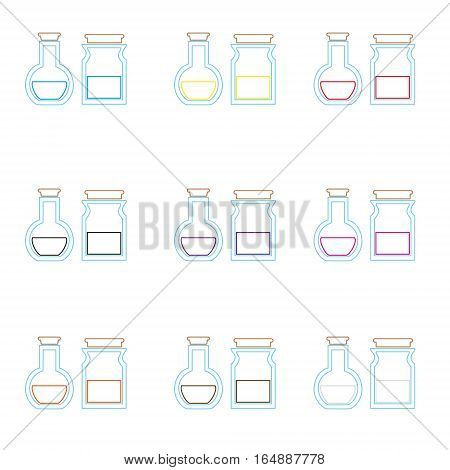 Science Laboratory Glass Flask With Various Color Liquid Outline Icons Eps10