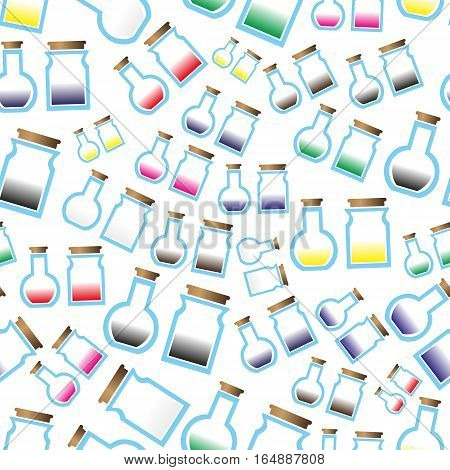 Science Laboratory Glass Flask With Various Color Liquid Icons Seamless Pattern Eps10
