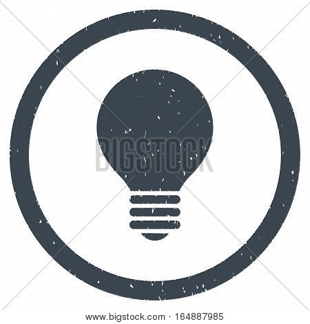 Electric Bulb rubber seal stamp watermark. Icon vector symbol with grunge design and dirty texture. Scratched smooth blue ink sign on a white background.