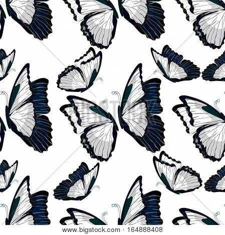 Seamless Pattern  Morpho Butterfliese Butterfly Monarch Black And White  Vector Illustration