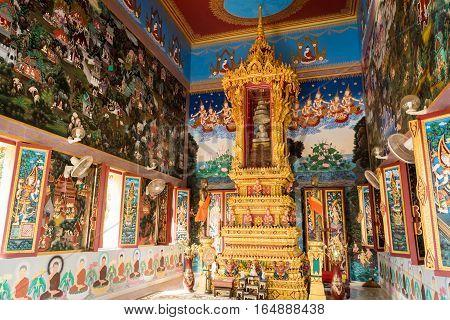 Phuket, Thailand - Jan 11 : Interior Of Buddhist Sanctuary At Khao Rang Temple ( Wat Khao Rang ) In