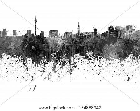 Dusseldorf skyline in artistic abstract black watercolor