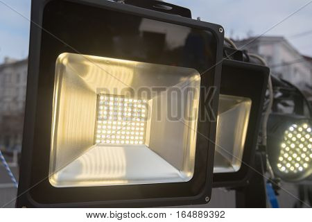 Close up of stage white color light source switched on