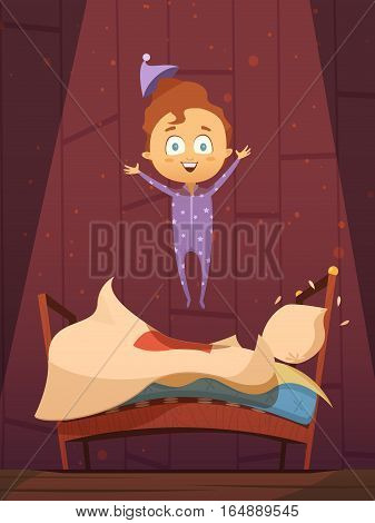 Unruly cartoon preschool kid in pajamas jumping on unmade bed flat retro vector illustration