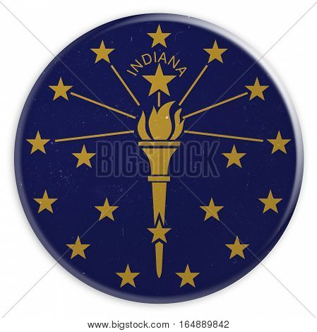 Vintage US State Button: Dirty Desaturated Indiana Flag Badge 3d illustration on white background