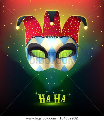 Masquerade background with realistic joker mask splendid on colorful stellar background with cartoon style mysterious lights vector illustration