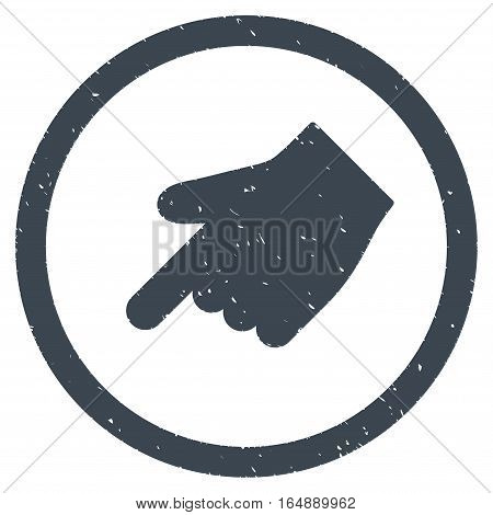 Index Finger Left Down Direction rubber seal stamp watermark. Icon vector symbol with grunge design and corrosion texture. Scratched smooth blue ink emblem on a white background.