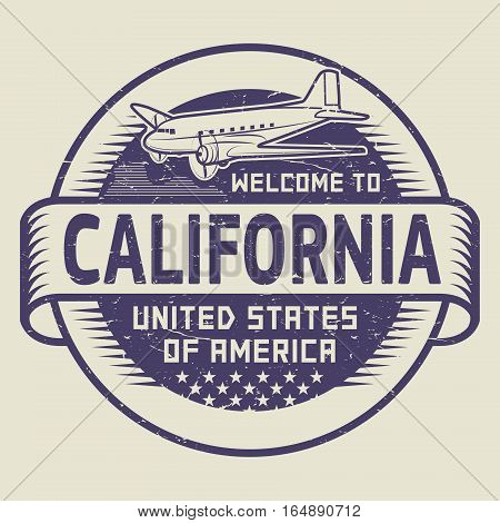 Grunge rubber stamp or tag with airplane and text Welcome to California United States of America vector illustration