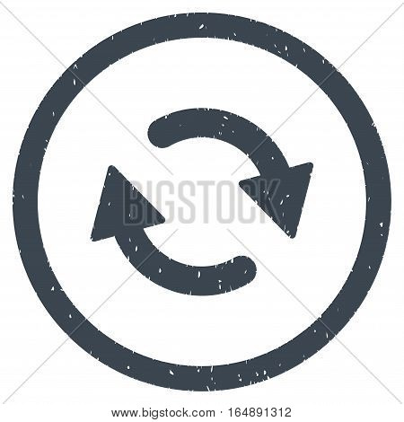 Refresh Arrows rubber seal stamp watermark. Icon vector symbol with grunge design and dirty texture. Scratched smooth blue ink emblem on a white background.