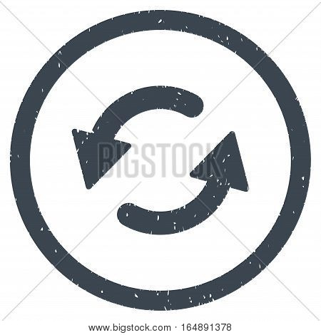 Refresh CCW rubber seal stamp watermark. Icon vector symbol with grunge design and dust texture. Scratched smooth blue ink emblem on a white background.