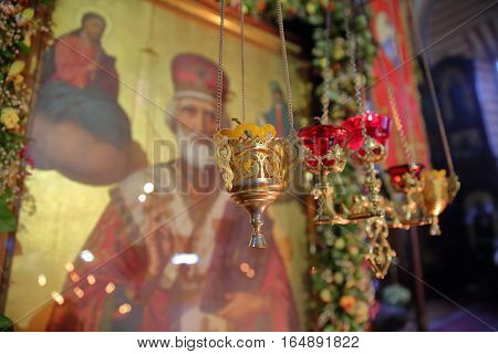 VILNIUS, LITHUANIA - DECEMBER 30, 2016: Interior of the Orthodox Church of St Nicholas