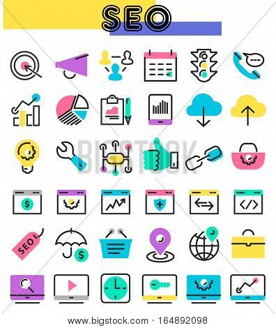 Trendy linear SEO icons in bright colored retro 80s, 90s memphis style