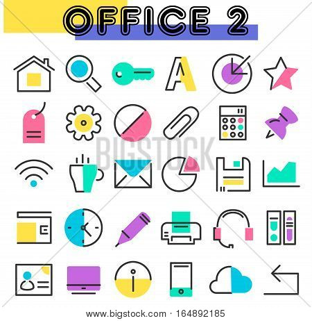 Office 2 linear icons collection in bright colored retro 80s, 90s memphis style