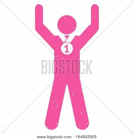 Winner Hands Up grainy textured pink icon for overlay watermark stamps. Flat symbol with dirty texture. Dotted vector ink rubber seal stamp with grunge design on a white background.