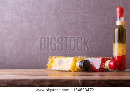 Composition with jars of pickled vegetables. Autumn