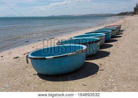 Nautical Fishing Coracles, Tribal Boats At Fishing Village In Vietnam