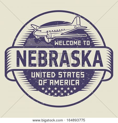 Grunge rubber stamp or tag with airplane and text Welcome to Nebraska United States of America vector illustration