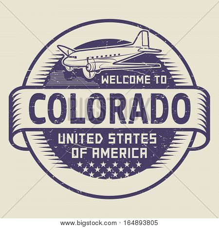 Grunge rubber stamp or tag with airplane and text Welcome to Colorado United States of America vector illustration