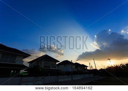 Silhouette House Of Village Suburb With Beautiful Sky Background