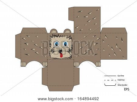 ready to print layout toy box with a small hedgehog porcupine