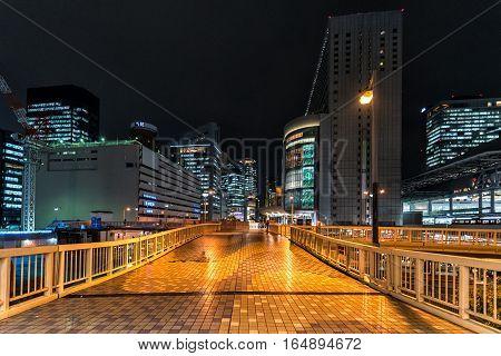 Night city scape of Osaka city, Japan.