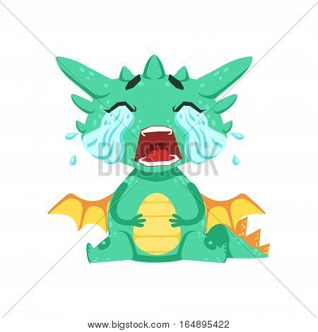 Little Anime Style Baby Dragon Crying Out Loud With Streams Of Tears Cartoon Character Emoji Illustration. Vector Childish Emoticon Drawing With Fantasy Dragon-like Cute Creature.