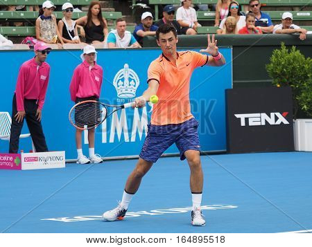 Melbourne Australia - January 11 2017: Australian Tennis player Bernard Tomic preparing for the Australian Open at the Kooyong Classic Exhibition tournament