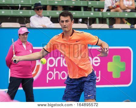 Melbourne Australia - January 11 2017: Australian Tennis player Bernard Tomic preparing for the Australian Open at the Kooyong Classic Exhibition tournament