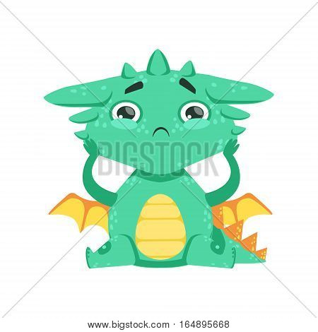 Little Anime Style Baby Dragon Feeling Lonely Cartoon Character Emoji Illustration. Vector Childish Emoticon Drawing With Fantasy Dragon-like Cute Creature.