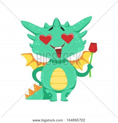 Little Anime Style Baby Dragon In Love Holding Single Red Rose Cartoon Character Emoji Illustration. Vector Childish Emoticon Drawing With Fantasy Dragon-like Cute Creature.