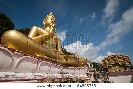 Giant Sitting Buddha On Rang Hill Temple In Phuket, Thailand