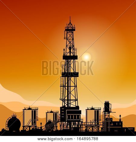 Silhouette Oil or Natural Gas Drilling Rigs on a Background of Mountains at Sunset, Silhouette Drilling Platform with Outbuildings and Tanks and Cisterns