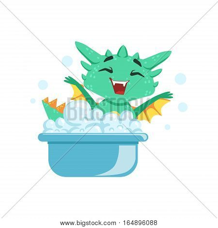 Little Anime Style Baby Dragon Enjoying Bubble Bath Cartoon Character Emoji Illustration. Vector Childish Emoticon Drawing With Fantasy Dragon-like Cute Creature.