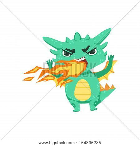 Little Anime Style Baby Dragon Pissed Off Breathing Fire Cartoon Character Emoji Illustration. Vector Childish Emoticon Drawing With Fantasy Dragon-like Cute Creature.