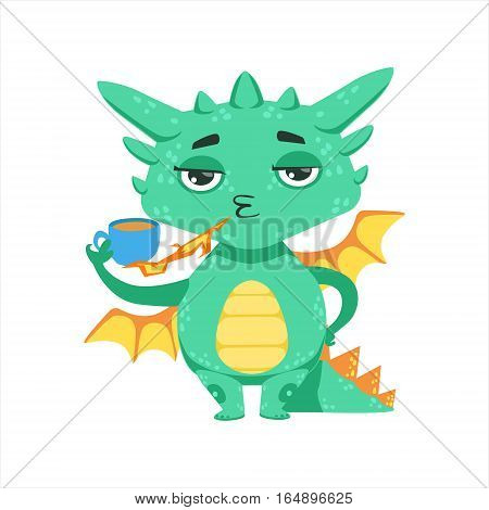 Little Anime Style Baby Dragon Warming Up Tea With Fire Cartoon Character Emoji Illustration. Vector Childish Emoticon Drawing With Fantasy Dragon-like Cute Creature.