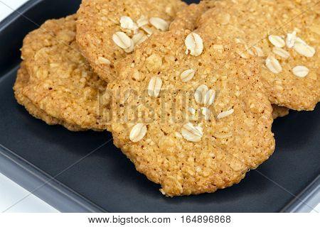 Oat Biscuit Cookies On Black Dish