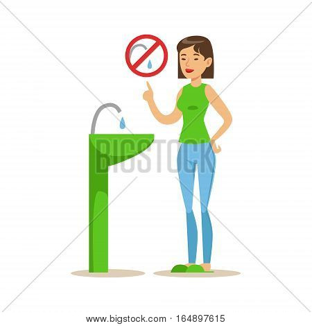Woman Showing Not To Vaste Water , Contributing Into Environment Preservation By Using Eco-Friendly Ways Illustration. Part Of People And Ecology Series Of Vector Cartoon Drawings.