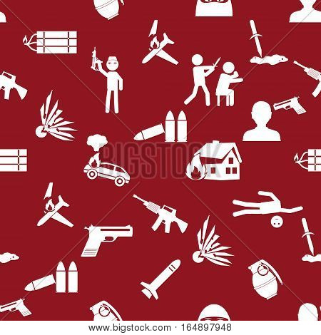Terrorism Theme Set Of Simple Icon Red Seamless Pattern Eps10