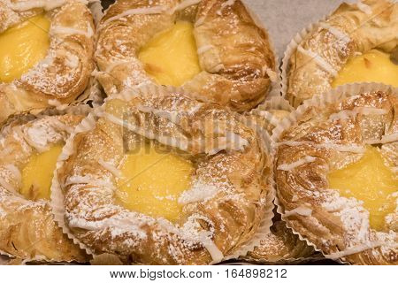 Newly baked Danish pastry fresh and crisp coffee bread