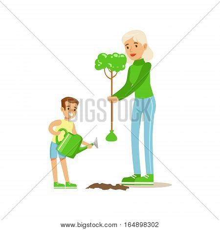 Woman Teaching Kid To Plant The Tree , Contributing Into Environment Preservation By Using Eco-Friendly Ways Illustration. Part Of People And Ecology Series Of Vector Cartoon Drawings.