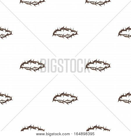 Crown of thorns icon in cartoon style isolated on white background. Religion pattern vector illustration.