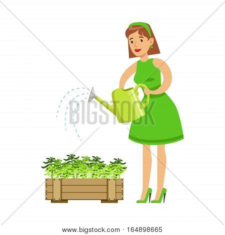 Woman Watering Sprouts In Crate , Contributing Into Environment Preservation By Using Eco-Friendly Ways Illustration. Part Of People And Ecology Series Of Vector Cartoon Drawings.