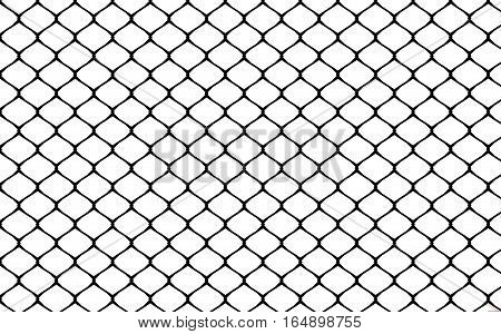Metallic wired fence pattern on white background