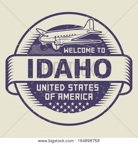 Grunge rubber stamp or tag with airplane and text Welcome to Idaho United States of America vector illustration