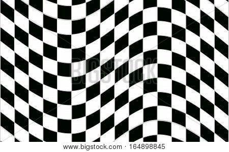 Abstract black and white checkered pattern with distortion effect