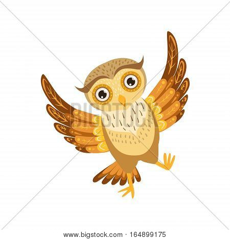 Happy Owl Cute Cartoon Character Emoji With Forest Bird Showing Human Emotions And Behavior. Vector Illustration With Woodland Animal And Its Life Situation.