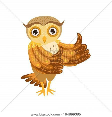 Owl Showing Thumbs Up Cute Cartoon Character Emoji With Forest Bird Showing Human Emotions And Behavior. Vector Illustration With Woodland Animal And Its Life Situation.