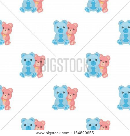 Teddy bears icon in cartoon style isolated on white background. Romantic pattern vector illustration.