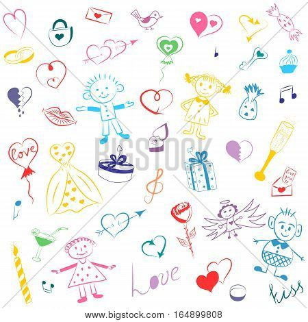Colorful Hand Drawn Set of Valentine's Day Symbols. Children's Cute Drawings of Hearts Gifts Rings Balloons and Kids. Sketch Style. Vector Illustration.